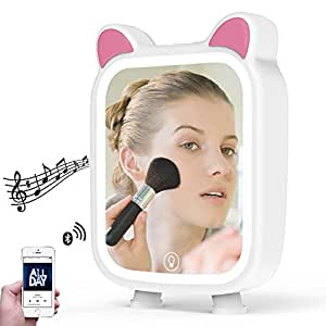 LED Makeup Mirror with Bluetooth Speaker, Lovely Music Vanity Mirror with Touch Activated Dimmable 7 Colors Light, Support TF Card Protable Comestic Mirror for Home Travel Kid Girl Women