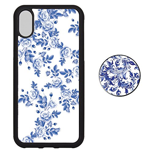 iPhone X Case and Pop Stand Socket Set, Blue and White Porcelain Soft TPU Rubber Cover [Shock-Resistant] [Non-Slip] Phone Cover (Phone Porcelain)