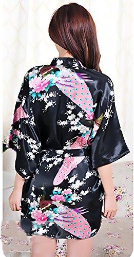 Scollo Vestaglia Con Estivo Stampa Accappatoio Corto Elegante Notte Fiore Camicia Hippie Cintura V Nero Giovane Kimono Donna Da 8g7ZWqA6