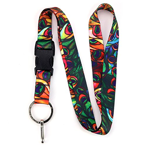 Buttonsmith Tiffany Peacock Premium Lanyard with Buckle and Flat Ring - Made in the USA