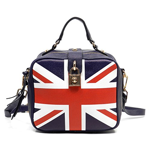 Elphis Union Jack Stripe Box Satchel Crossbody Bag Purse (Union Jack (EG)) (Union Jack Satchel compare prices)