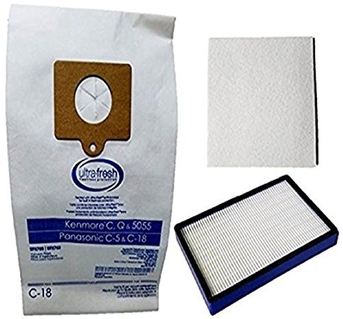 12 Kenmore Type C or Type Q Allergen Filtration Canister Vacuum Bags, (1) Kenmore CF1 81002 Motor Chamber Filter, (1) Kenmore EF1 86889 HEPA Exhaust Filters, Fits Progressive, Intuition, Canisters (Electrolux Hepa Canister Vacuums)