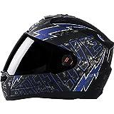 Steelbird Helmet SBA-1 Free Live with Smoke Visor and Matt Finish (Large, Black and Blue)
