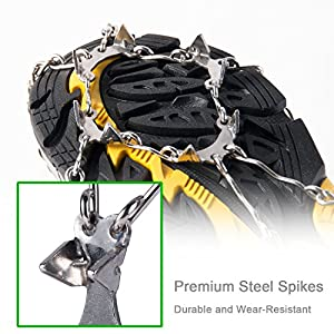 OuterStar Traction Cleats Ice Snow Grips Anti Slip Stainless Steel Spikes Crampons for Footwear M/L