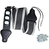Guitar Strap With 3 Pick Holders For Electric And Acoustic Guitars With Guitar Picks Variety Pack (Black)