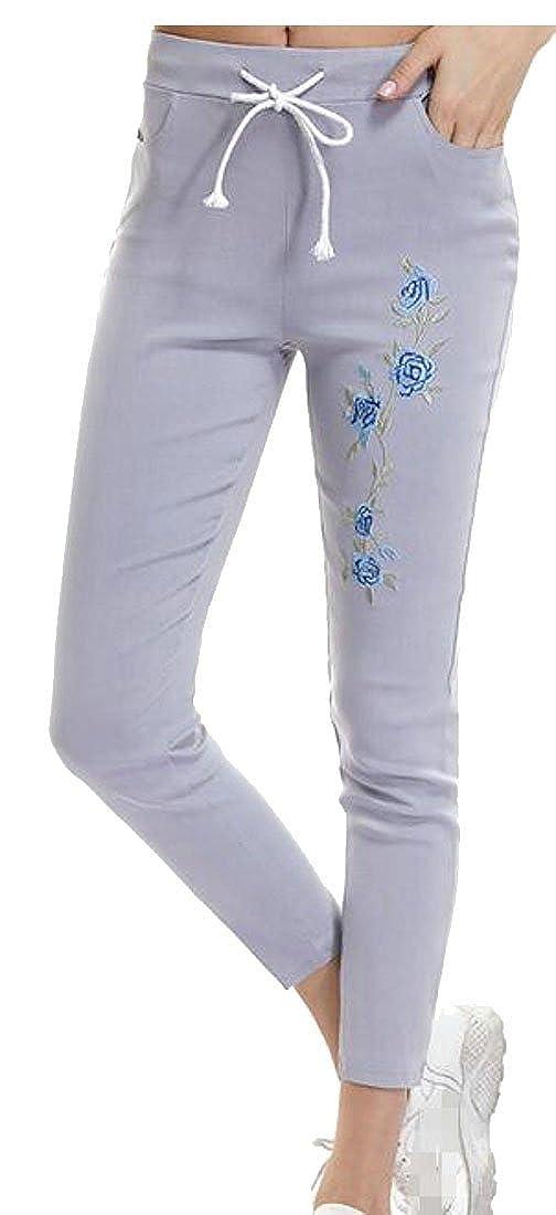 Etecredpow Womens Slim Fit Elastic Waist Embroidery Skinny Stretchy Pants