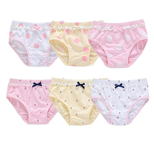Orinery Lace Baby and Toddler Underwear Cotton Girls Assorted Briefs(Pack of 6) (3-4 Years Old)