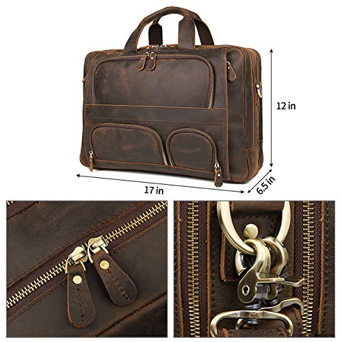 Augus Business Travel Briefcase Genuine Leather Duffel Bags for Men Laptop Bag fits 15.6 inches Laptop