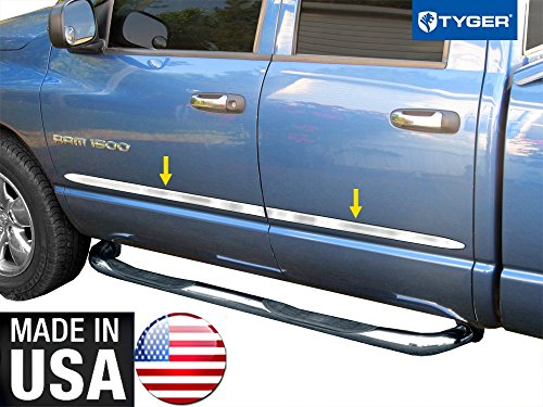 Made in USA! Works with 2002-2008 Dodge Ram 1500/03-2009 2500 Quad Cab Rocker Panel Chrome Stainless Steel Body Side Moulding Molding Trim Cover 1.5