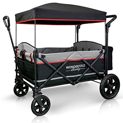 WonderFold Baby XXL 4-Passenger Pull/Push Quad Stroller Wagon with Adjustable Handle Bar