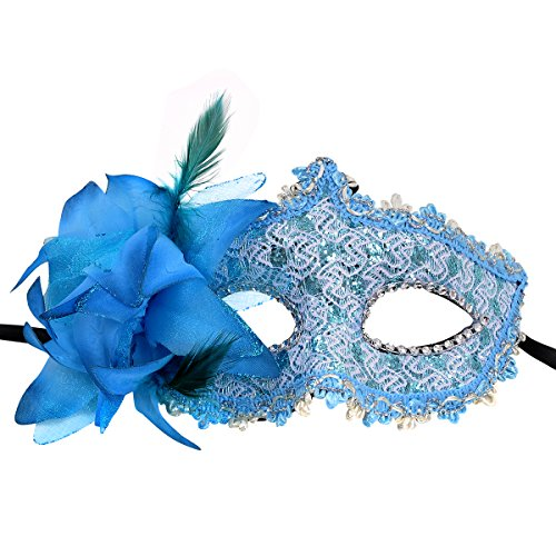 Blue Feather Costumes Mask - Anomasu Masquerade Party mask Venetian of