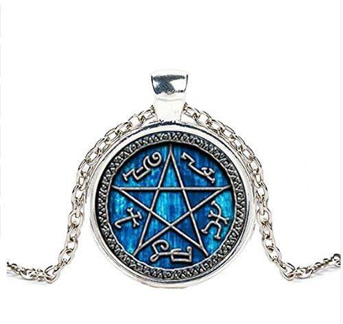 Gothic Halskette Kette Amulett Anhänger Pentagramm Mond Hexe Witchy Restyle