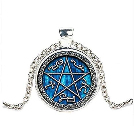 Htulip Halskette f/ür Herren mit Pentagramm-Hexagon-Obsidian-Stein Halskette f/ür M/änner und Frauen Amulett-Anh/änger