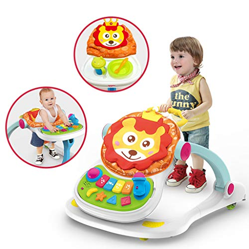 Baby Walkers and Activity Center for Girls, Children Play Station 4-in-1 Activity Walker, Seated or Walk-Behind Position, Game Car, Dining Car, Walker and Stroller (Multicolor)