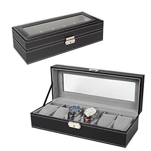 Watch Display Case - 6 Slot Leather Watch Box Display Case Organizer Glass Jewelry Storage Black
