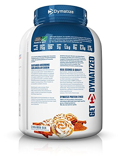 Dymatize Elite 100% Micellar Casein Slow Absorbing Protein, Cinnamon Bun, 4 lbs