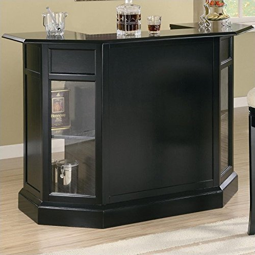 Coaster Inwood Contemporary Black Bar Unit with Wine Rack and Stemware Storage