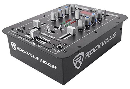 Rockville RDJ3BT 2 Channel DJ Mixer with USB, Bluetooth, Talkover, 4 Line Inputs
