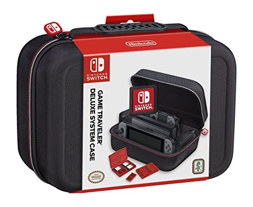 NINTENDO SWITCH DELUXE SYSTEM CASE; SECURELY HOLDS COMPLETE NINTENDO SWITCH SYSTEM INCLUDING: CHARGING DOCK, AC ADAPTER, HDMI CORD, TWO JOY-CONS, AND AN EXTRA SET OF JOY-CONS OR SWITCH PRO (Deluxe Black Hardshell)