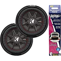 Kicker Bundle of 3 Items: Two 43CWRT121 12 CompRT Series Car Subwoofers w/Dynamat Xtreme Trunk Kit 19405