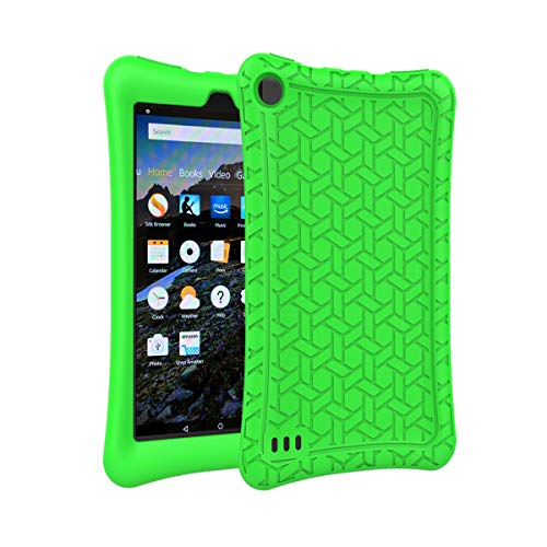AVAWO Silicone Case for Fire 7 Tablet (7th Generation, 2017 Release only) - Anti Slip Shockproof Light Weight Protective Cover, Green