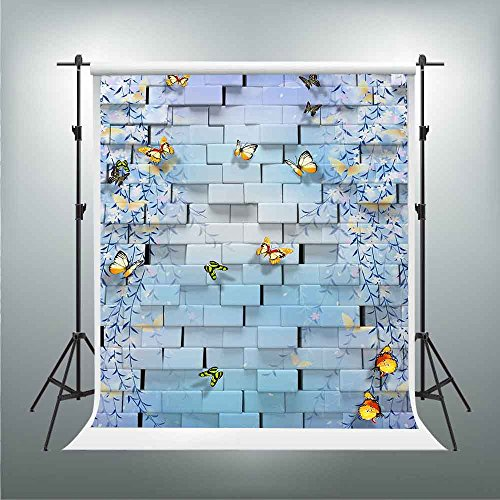 GESEN Blue Dream Backdrop 5X7ft Colorful Fresh Butterfly Branch Background You Tube Themed Party Backdrop Video Studio Props TMGE194