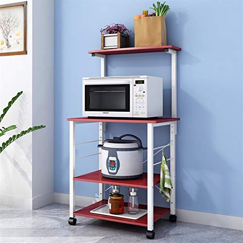 loor-Standing Microwave Shelf Kitchen Shelf Shelf Dish Rack Kitchen Storage Rack Storage Shelf (Color : Red) ()