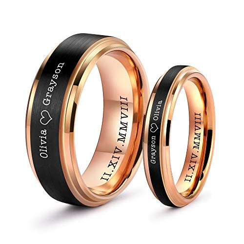 - LerchPhi Wedding Band Promise Rings for Couples Rings Free Personalized Engraved Tungsten Carbide Black Matte Satin Finish 18K Rose Gold Plated Innerface