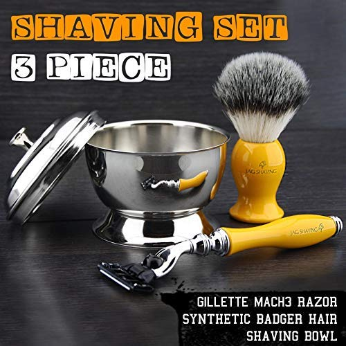 Price comparison product image Yellow Resin Handle New Collection Men's Shaving Set by Jag Shaving With SilverTip Synthetic Hair Brushr, Mach 3 Head Razor, Stainless steel Mirror Shine Bowl with Lid.Perfect Gift