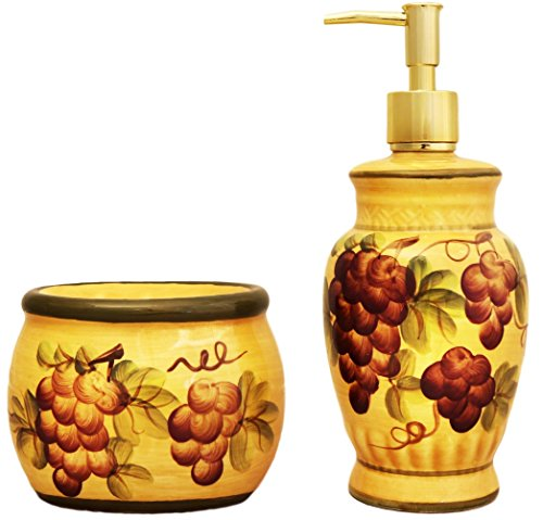 Tuscany Grape Hand Painted Ceramic Collection by ACK (Soap Dispenser and Sponge Holder Set) Fruit Kitchen Canisters