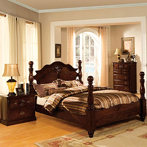 Tuscan Colonial Style Dark Pine Finish 6-Piece Queen Size Bedroom Set