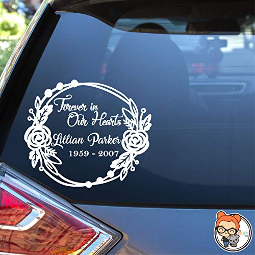 Forever in Our Hearts Rose Wreath Memorial- Vinyl Die Cut Decal Sticker for Car Laptop etc.