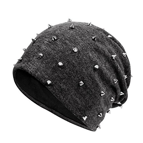 (Urchart Unisex Rivet Beanie Hat Teenage Boys Girls Women Men Punk Rock Hiphop Cap (Dark Grey))