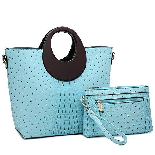 Women's Fashion Ostrich Handbag Chic Round Wooden Handle Shoulder Bag Tote Satchel Purse w/Wallet ()