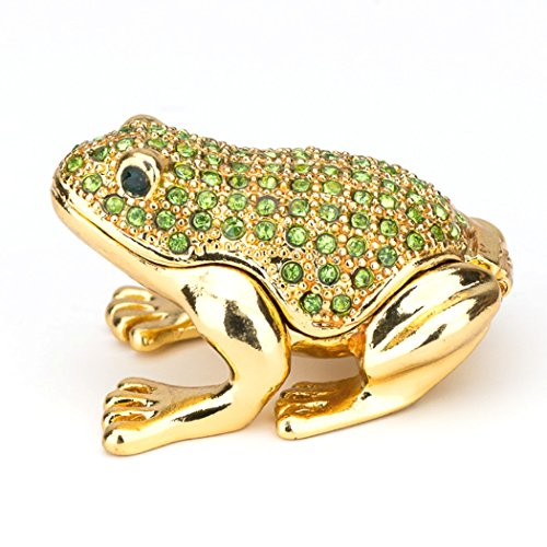 Lilly Rocket Collectible Box with Rhinestone Bejeweled Swarovski Crystals - Small Green Frog