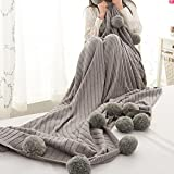 Pom Pom Grey Throw Knit Blanket,Reversible 100% Cotton Knitted Throw Blanket,59x79in Sofa/Bedding/Couch Cover with Pom Poms (59x79in, Grey)