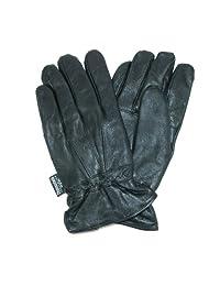 Dorfman Pacific Men's Thinsulate Genuine Lambskin Leather Gloves (Black, S/M)