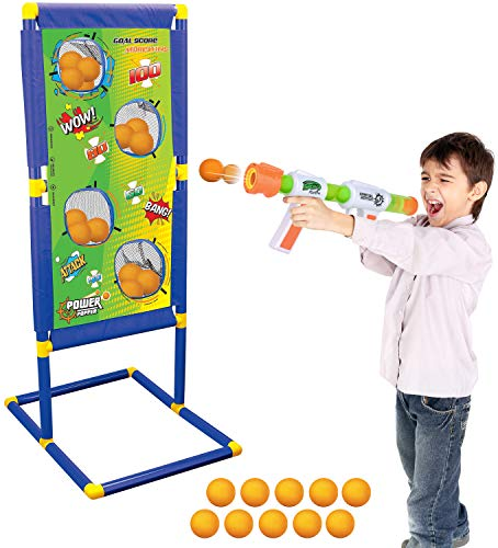 Kiddie Play Atomic Power Popper Gun Ball Shooter with Target and Foam Balls for Kids]()
