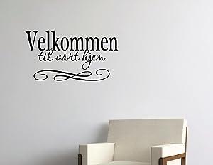 Vinyl Quote Me Velkommen til vårt hjem Norwegian and Dutch Vinyl Wall Saying Quote Words Decal