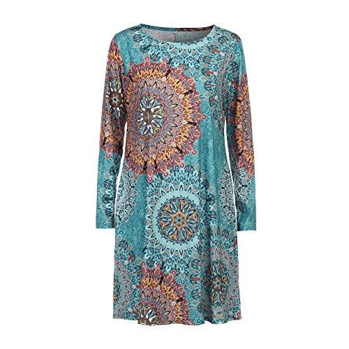 Party Sleeve Boho Vintage for Evening Multicolor Maxi DETALLAN Floral Long Dress Women Beach vZ6qWwFx