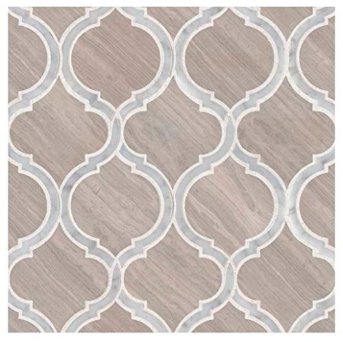 White Quarry Savona 10.89 in. x 12.80 in x 10 mm Honed Marble Mesh-Mounted Mosaic Tile by MS International (Image #4)