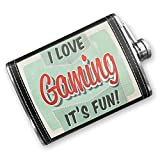 8oz Flask Stitched I Love Gaming, Vintage design Stainless Steel - Neonblond