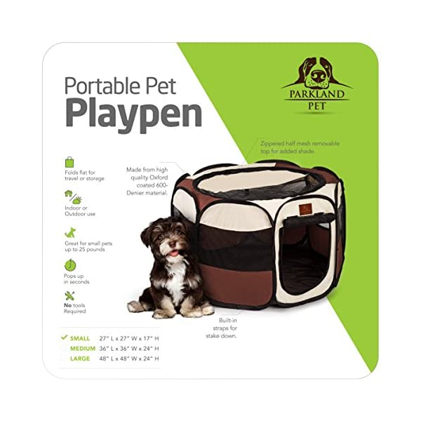 Parkland Pet Portable Foldable Playpen Exercise Kennel Dogs Cats Indoor/Outdoor Removable Mesh Shade Cover 2