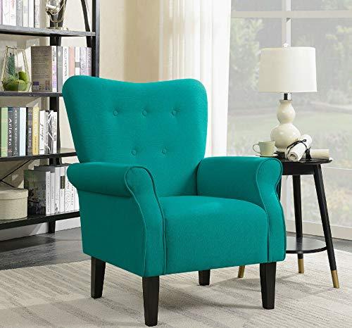 Living Room Design Ideas Elegant Design Fabric Club Chair w/Button Accent Arm Rest Cushion, Mallard Teal (French Louis Xv Arm Chair)