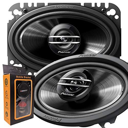 "Pair of Pioneer TS-G4620S 400W Max (60W Rms) 4"" X 6"" G-Series 2-Way Coaxial Car Speakers - 2 Speakers + Gravity Magnet Phone Holder"