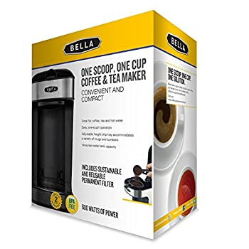 BELLA (14436) One Scoop One Cup Coffee Maker, Black and Stainless Steel