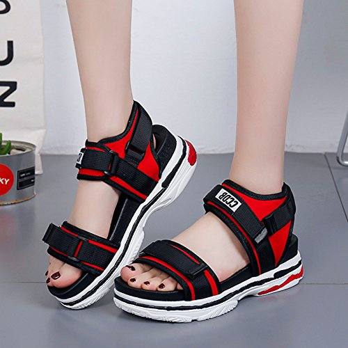GAOLIM Las Mujeres Sandalias De Piso De Fondo Grueso Sandalias De Ocio Verano Rocío Velcro-Toe Sandalias Zapatos De Mujer El rojo
