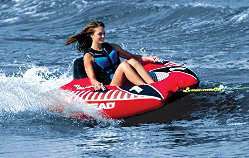 AIRHEAD AHVI-F1 Viper 1 Single Rider Cockpit Inflatable Towable Tube w/ Tow Rope