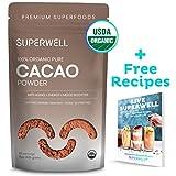 SUPERWELL Organic Cacao Powder - Cocoa Powder (15 Oz / 85 Servings)   Sugar Free   All Natural   Low Carb - Keto Chocolate   Premium Superfood   Anti-Aging