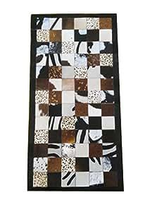 Zerimar Alfombra piel de vaca Medidas: 140x70 cms Estilo Patchwork hecha a mano con cuero de alta calidad, ideal para cualquier espacio